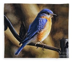 Bluebird Portrait Fleece Blanket
