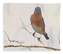 Bluebird Stare  Fleece Blanket