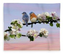 Bluebirds In Apple Tree Fleece Blanket