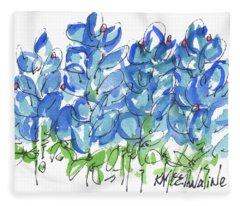 Bluebonnet Dance Watercolor By Kmcelwaine Fleece Blanket
