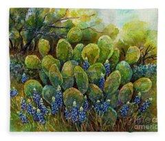 Bluebonnets And Cactus 2 Fleece Blanket