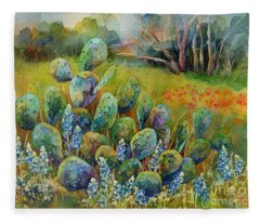 Bluebonnets And Cactus Fleece Blanket