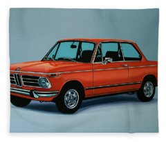 Bmw 2002 1968 Painting Fleece Blanket