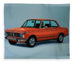 Bmw 2002 1968 Painting Fleece Blanket