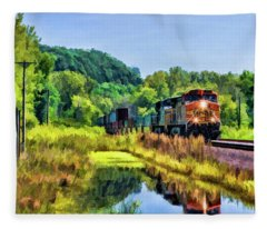 Bnsf Scenic Freight Train Fleece Blanket