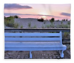 A Welcome Invitation -  The Boardwalk Bench Fleece Blanket