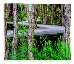 Boardwalk In The Woods Fleece Blanket