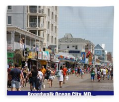 Boardwalk Ocean City Md Fleece Blanket