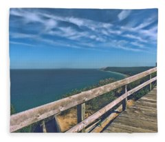 Boardwalk Over Sleeping Bear Dunes Lakeshore Fleece Blanket