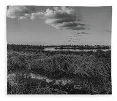 Boardwalk Panorama Monochrome Fleece Blanket
