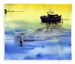 Boat And The Seagull Fleece Blanket