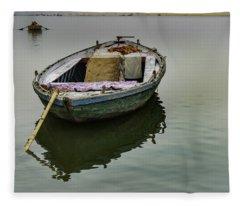 boat at Ganges Fleece Blanket