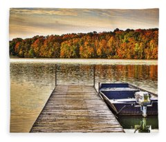 Boat Dock Le-aqua-na II Fleece Blanket
