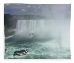 Boat Near Niagara Falls Fleece Blanket