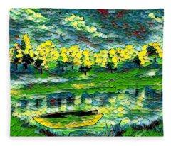 Boat On Lake Fleece Blanket