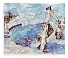 Boat On Sand Of A Beach Shore Fleece Blanket