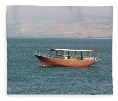 Boat On Sea Of Galilee Fleece Blanket