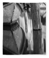 Boat Reflection In Venice Canal  Fleece Blanket