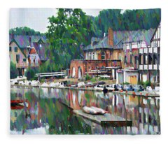 Boathouse Row In Philadelphia Fleece Blanket