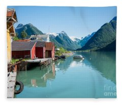 Boathouse With Mountains And Reflection In The Fjord In Norway Fleece Blanket