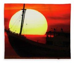 Boatman Enjoying Sunset Fleece Blanket
