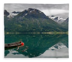 Boats And Mountain Reflection In The Water In Panorama Fleece Blanket