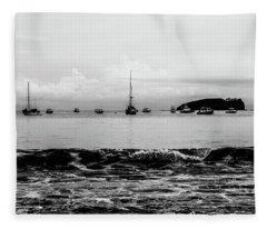 Boats And Waves 2 Fleece Blanket