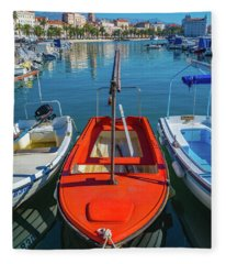 Boats At Rovinj Fleece Blanket