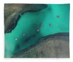 Fleece Blanket featuring the photograph Boats Floating In Sea by Pradeep Raja PRINTS