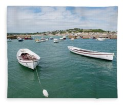 Boats In Habour Fleece Blanket