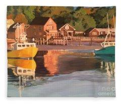 Boats In Kennebunkport Harbor Fleece Blanket