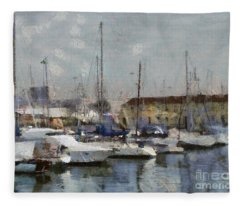 Boats In Marina Fleece Blanket