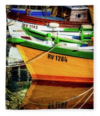 Boats In Rovinj Fleece Blanket