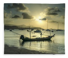 Boats In The Bay Fleece Blanket