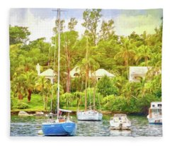 Boats In Waiting Fleece Blanket