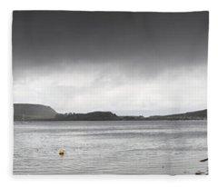 Boats Moored In The Harbor Oban Fleece Blanket