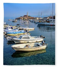 Boats Of The Adriatic, Rovinj, Istria, Croatia  Fleece Blanket