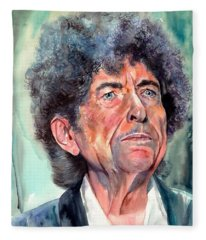 Bob Dylan Watercolor Portrait  Fleece Blanket