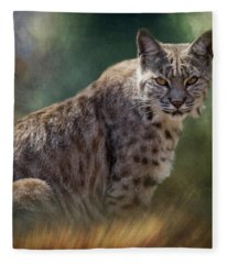 Bobcat Gaze Fleece Blanket