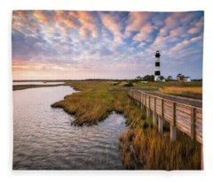 Bodie Island Lighthouse Outer Banks North Carolina Obx Nc Fleece Blanket