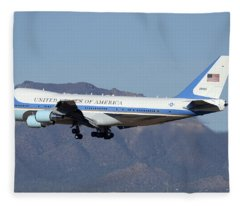 Boeing Vc-25a 82-8000 Air Force One Phoenix-mesa Gateway Airport January 25 2012 Fleece Blanket