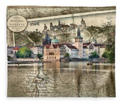 Bohemia Moravia Prague Map Fleece Blanket