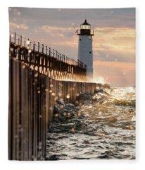 Bokeh On Lake Michigan Fleece Blanket