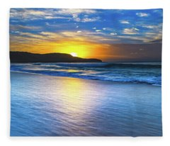 Bold And Blue Sunrise Seascape Fleece Blanket