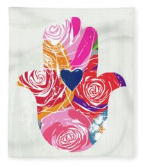 Bold Floral Hamsa- Art By Linda Woods Fleece Blanket