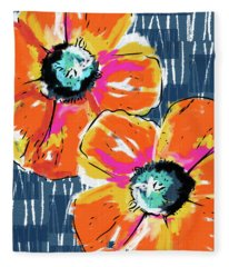 Bold Orange Poppies- Art By Linda Woods Fleece Blanket