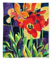 Bold Quilted Tulips Fleece Blanket