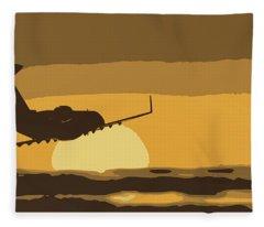 Bombardier Crj-200er Flying Sunset Fleece Blanket