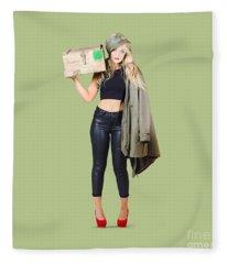 Bombshell Blond Pinup Woman In Dangerous Style Fleece Blanket