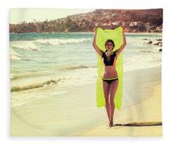 Bond Girl Laguna Beach Fleece Blanket